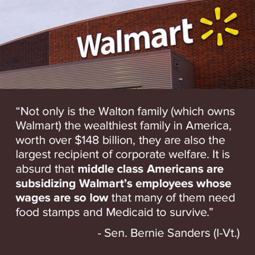 Walmart weLet's Dissect this quote: lfare bernie sanders